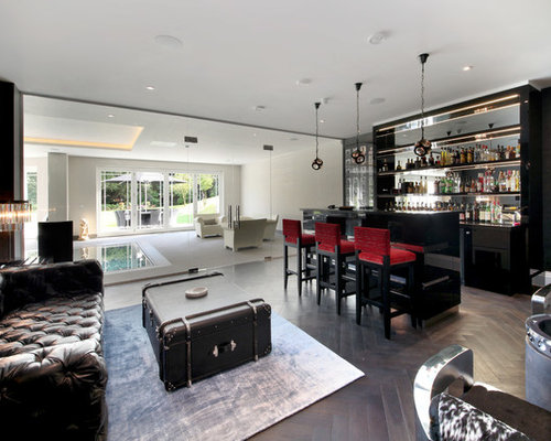 This Is An Example Of A Modern Breakfast Bar In Surrey With Open Cabinets,  Mirror