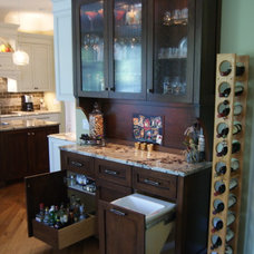 Transitional Home Bar by Kitchens by Elegant Wood Design