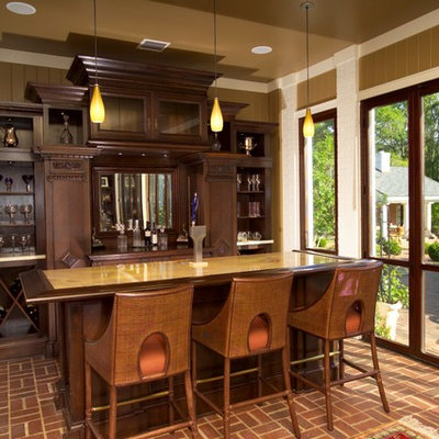 Seated home bar - transitional galley brick floor and red floor seated home bar idea in Atlanta with open cabinets and dark wood cabinets