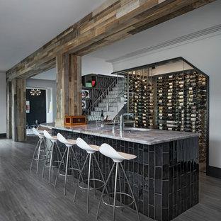 デトロイトのトランジショナルスタイルのおしゃれなウェット バー (アンダーカウンターシンク、グレーの床、グレーのキッチンカウンター) の写真