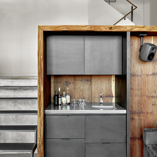 Inspiration For A Mid Sized Modern Single Wall Concrete Floor And Gray Wet