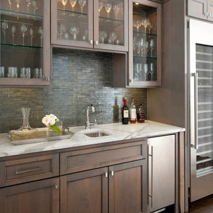 Wet Bar Traditional Single Wall Dark Wood Floor And Brown Idea