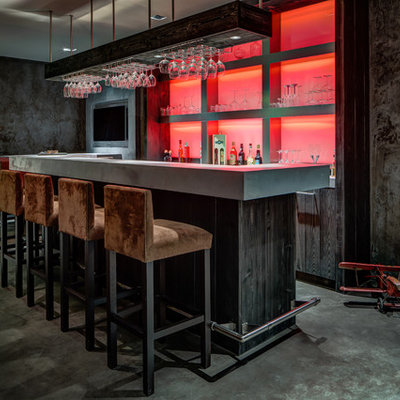 Trendy seated home bar photo in Other with dark wood cabinets