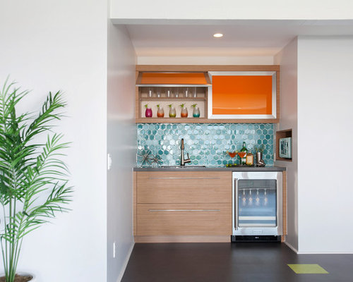inspiration for a singlewall wet bar remodel in san diego with flat