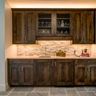 Example Of A Large Mountain Style Single Wall Gray Floor Wet Bar Design In Other