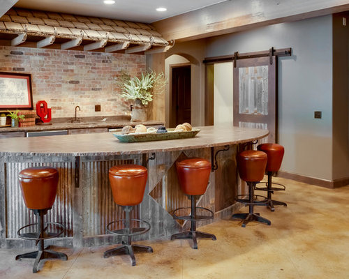 Example Of A Country Concrete Floor And Beige Floor Seated Home Bar Design  In Oklahoma City Part 74