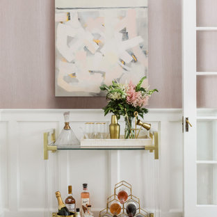 Inspiration for a classic bar cart in Boston with medium hardwood flooring and brown floors.