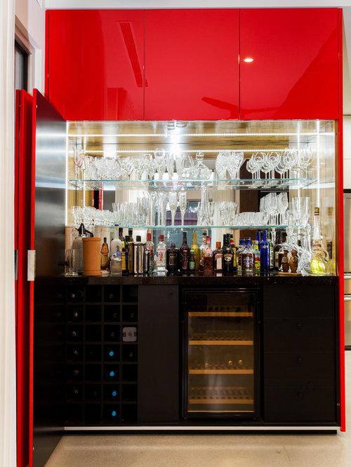 Red Home Bar Design Ideas Renovations Photos