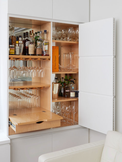 Inspiration For A Small Contemporary Home Bar Remodel In New York With No  Sink, Flat