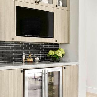 Home bar - contemporary single-wall light wood floor home bar idea in Dallas with no sink, flat-panel cabinets, light wood cabinets, black backsplash and subway tile backsplash