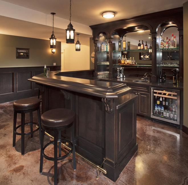 Traditional Home Bar by Stephens Fine Homes Ltd