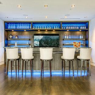ダラスのモダンスタイルのおしゃれな着席型バー (ガラスカウンター、中間色木目調キャビネット、オープンシェルフ) の写真