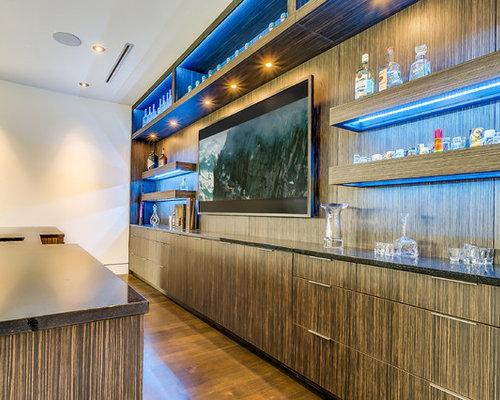 bar de salon moderne avec un placard porte vitr e photos et id es d co de bars de salon. Black Bedroom Furniture Sets. Home Design Ideas