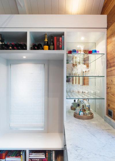 Transitional Home Bar by Arbib Hughey Design