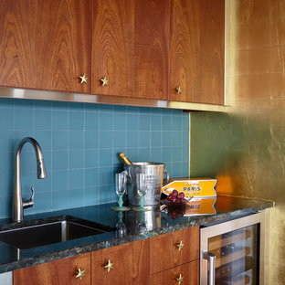 Eclectic Single Wall Wet Bar Photo In New York With An Undermount Sink, Flat