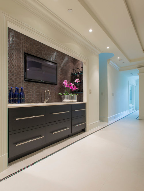 example of a minimalist single wall wet bar design in dc metro with an undermount - Matchstick Tile Bedroom Decor