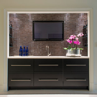 Design ideas for a modern single-wall wet bar in DC Metro with a submerged sink, flat-panel cabinets, black cabinets, marble worktops, black splashback and matchstick tiled splashback.