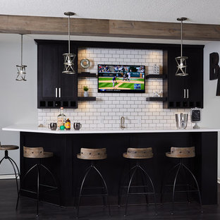 kitchens with black cabinets and dark wood floors saginaw example of small urban lshaped dark wood floor and brown wet bar 75 most popular industrial dark wood floor home bar design ideas for