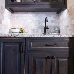 Wet bar with inset cabinetry - custom stain finish
