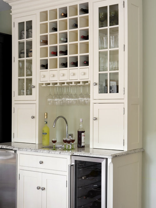traditional home bar idea in boston with an undermount sink shaker cabinets white cabinets - Beverage Center
