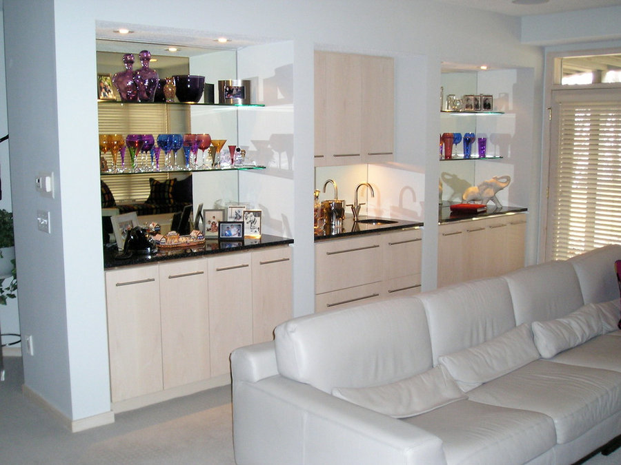 White Maple Bar Cabinetry with White Washed Finish