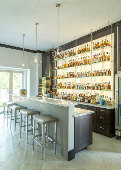 Transitional Home Bar by By Design Interiors, Inc.