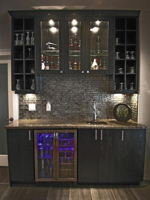 Small home bar design ideas renovations photos with ceramic floors - Contemporary home bar ...