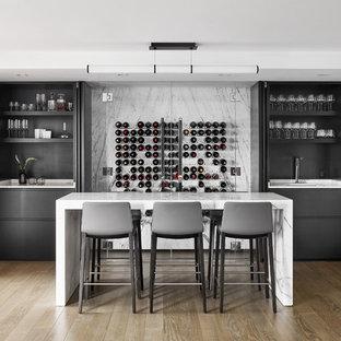 Mid Sized Trendy Medium Tone Wood Floor And Brown Floor Wet Bar Photo In  Boston