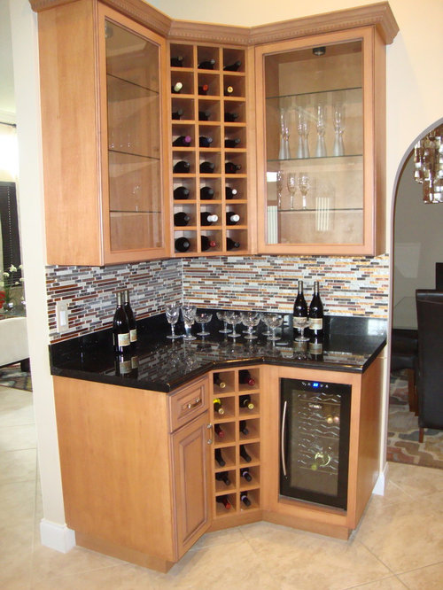 Affordable Home Bar Design Ideas Renovations Photos With Medium Wood Cabinets