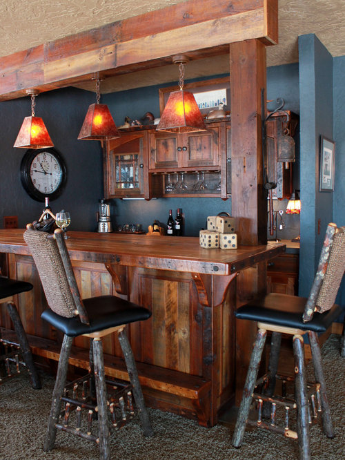 Example Of A Mid Sized Mountain Style Home Bar Design In Other