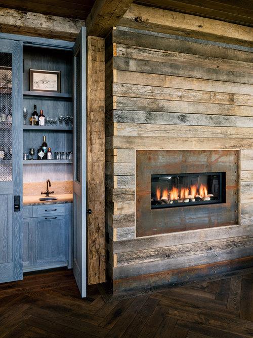 Farmhouse Single Wall Dark Wood Floor Wet Bar Idea In Chicago With An Undermount Sink