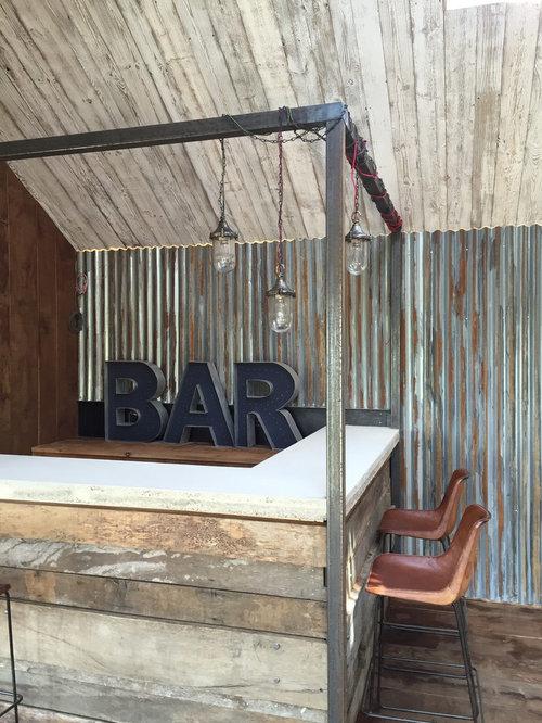 Rustic L Shaped Breakfast Bar In Devon With Dark Hardwood Flooring. Part 78