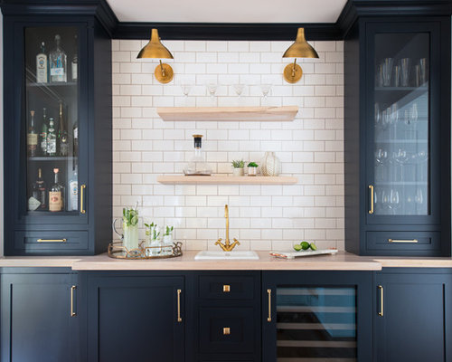 Small Elegant Single Wall Wet Bar Photo In New York With A Drop In