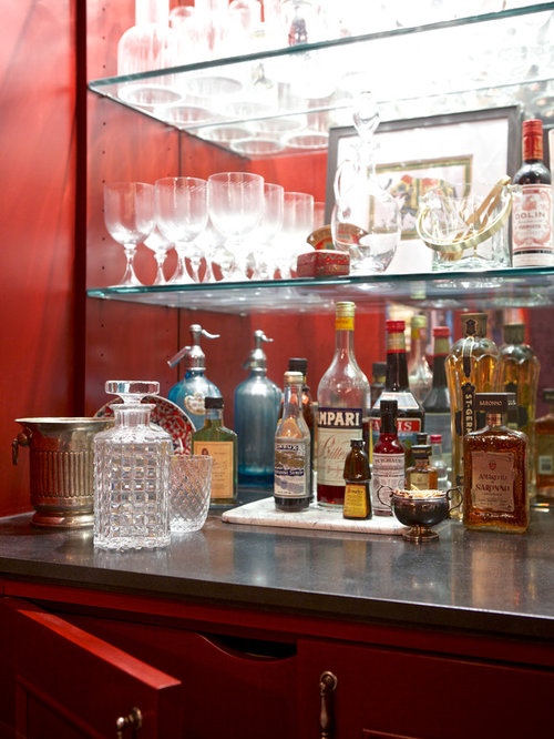 Traditional Home Bar Design Ideas Renovations Photos With Red Cabinets