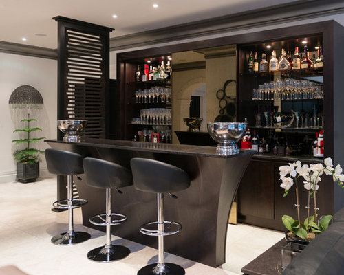 This Is An Example Of A Large Modern U Shaped Breakfast Bar In Manchester  With