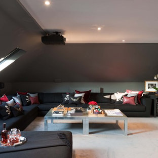 Photo of a modern home cinema in London.
