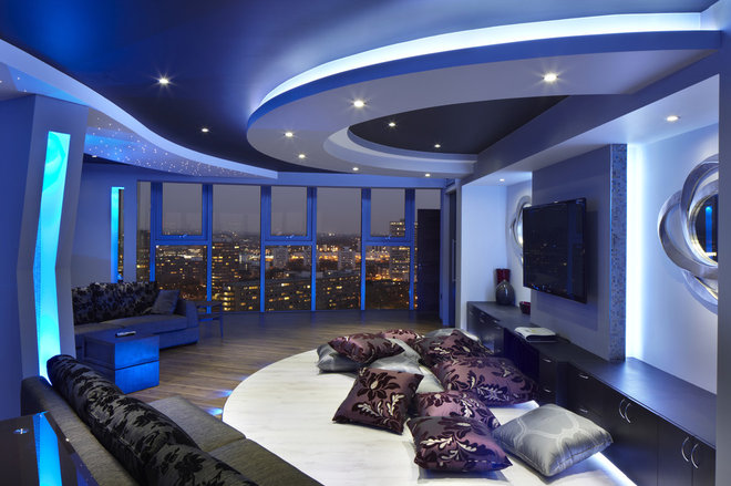 Contemporary Home Theater by One-World Design