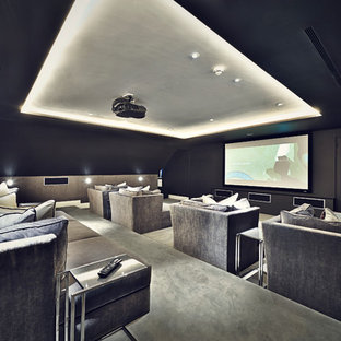 Design ideas for a contemporary home cinema in London.
