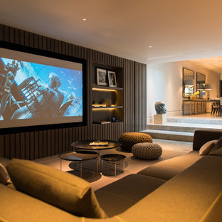 Photo of a contemporary home cinema in London.