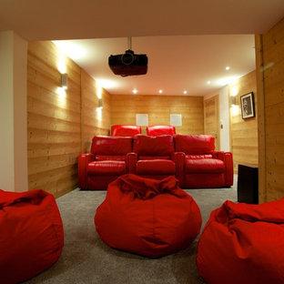 Cette image montre une grande salle de cinéma design fermée avec un mur marron, moquette et un écran de projection.