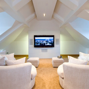 This is an example of a large traditional enclosed home cinema in Other with carpet, white walls and a wall mounted tv.
