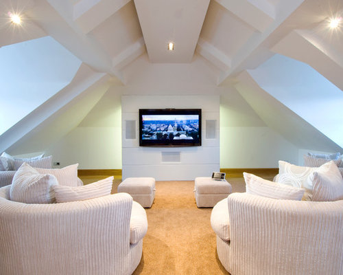 This Is An Example Of A Large Traditional Enclosed Home Cinema In Other  With Carpet,
