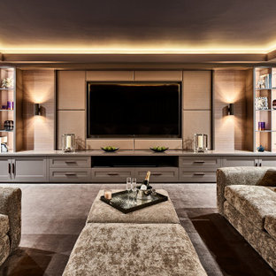 Inspiration for a contemporary home cinema in Cheshire.