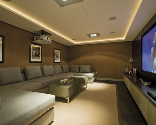 Design Ideas For A Contemporary And Modern Home Cinema In London With Brown  Walls.