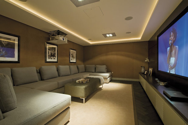 Contemporary Home Theater by Mitchell Berry Architects