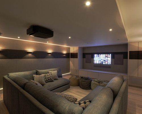 Example Of A Minimalist Home Theater Design In Kent