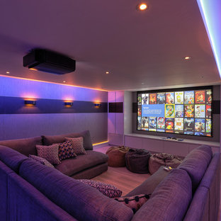На фото: изолированные домашние кинотеатры в современном стиле с экраном для проектора