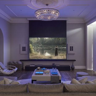 Design Ideas For A Large Contemporary Home Cinema In Hertfordshire With A  Projector Screen.