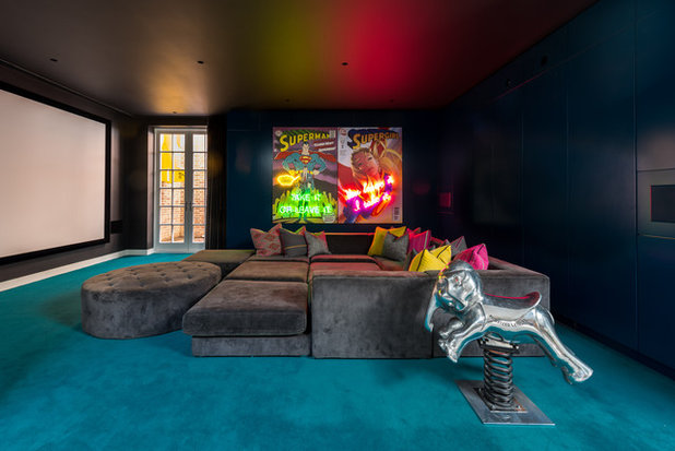 Eclectic Home Theatre by JKG Interiors