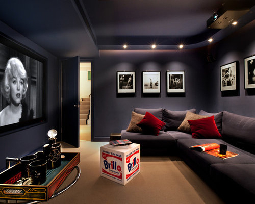 Example Of A Small Trendy Enclosed Carpeted And Brown Floor Home Theater  Design In London With